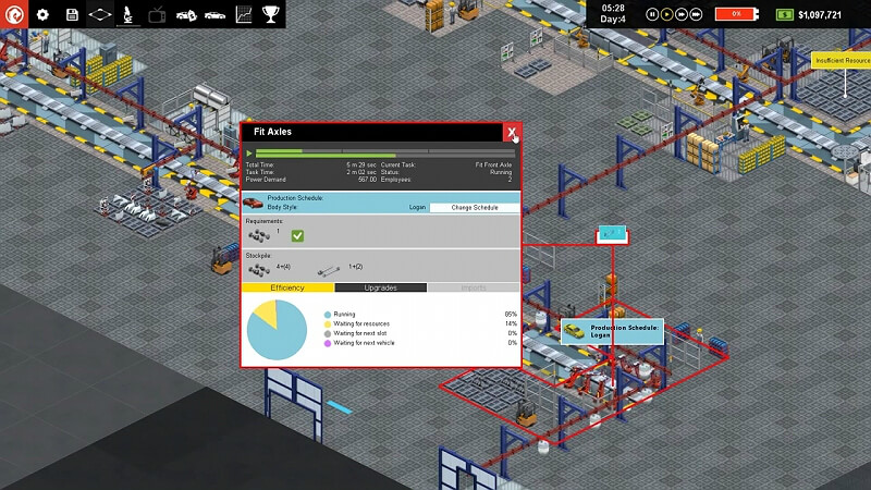 Production Line Car factory simulation GamePlay