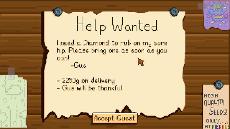 Stardew Valley Gus Quests
