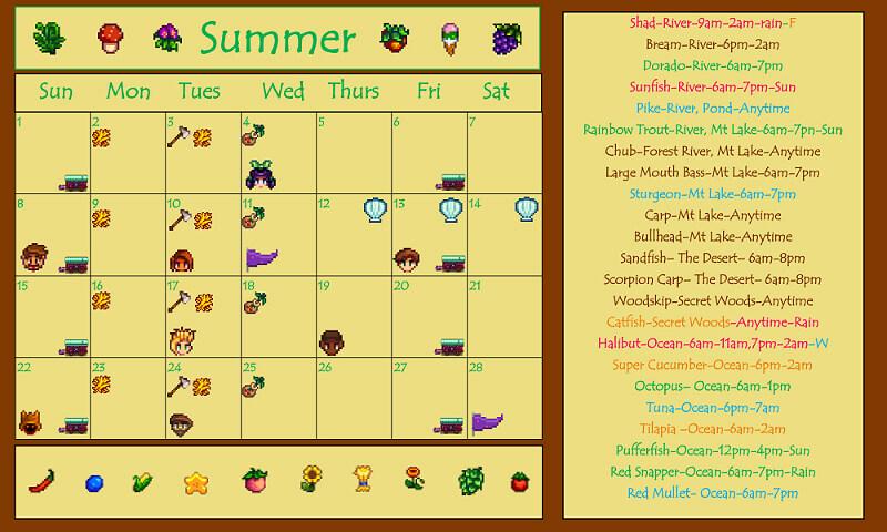 Fall Calendar Stardew.Stardew Valley Calendar All The Most Important Events Gamescrack Org