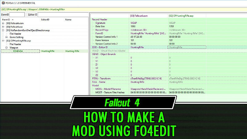 Fallout 4 Creating Mods Using Fo4edit Guide And Tips Gamescrack Org Rename the executable to fo4edit open fo4edit.exe make sure only fallout4.esm and dlcnuka.esm is checked off click apply it'll load go under weapons, there's a column that has name so you can order the list by name find the weapon you wnat click on it to the right are properties for the weapon fallout 4 creating mods using fo4edit